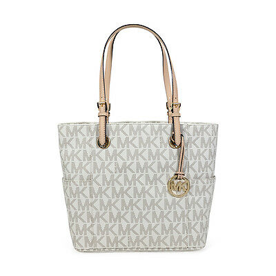 Michael Kors Jet Set Signature Logo Tote Handbag in Vanilla - Cream