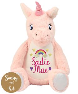 Personalised Rainbow Unicorn Teddy Embroidered Gift New Baby Gift Custom