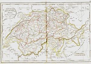 Carte de la SUISSE divisée en ses 22 Cantons -1836- 38 x 49 cm. Delamarche qOs3X1yM-08014214-724573955