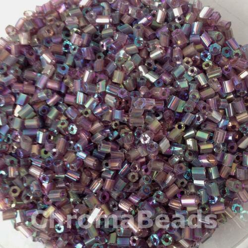 HEX de verre 50g perles de rocailles Violet arc-en-ciel métallisé taille 11//0