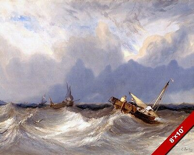 DUTCH SHIPS ON ROUGH STORMY SEAS OCEAN PAINTING ART REAL CANVAS GICLEE PRINT