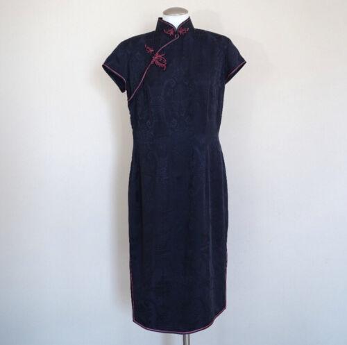 Shanghai Tang 14 L Navy Jacquard  Print Pink Dress