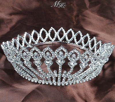 Floral Round Tiara Wedding Bridal Crown Austrian Rhinestones Pageant Party Prom