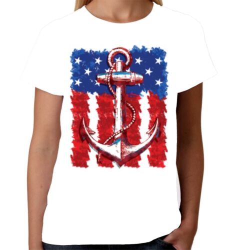 Velocitee Ladies T-Shirt American Flag /& Anchor Tattoo Rockabilly USA W17740