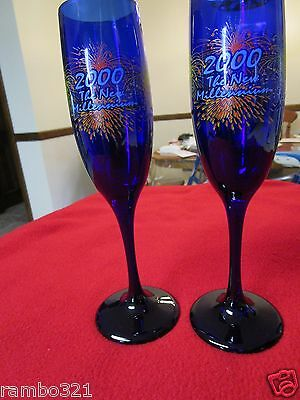 Two Cobalt Blue Glass 2000 The New Millennium Champagne Glasses Set RARE