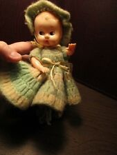 Vintage IDEAL - Hard Plastic Baby Doll - Crocheted - Dress - Bonnet & Booties