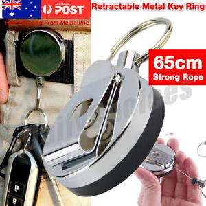 Metal-Steel-Recoil-Key-Ring-Retractable-Pull-Chain-Holder-Reel-Belt-Clip-AU
