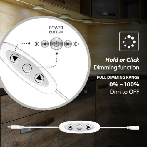 EShine Under Cabinet LED Puck Lights with Dimmer Switch Warm White Pack of 3