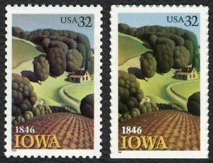 #3088 & 3089 32c Iowa, Individuales, Nuevo Cualquier 5=