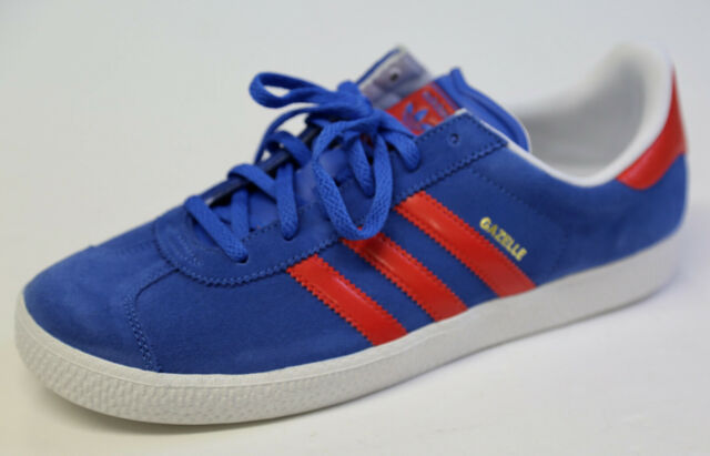 Adidas Gazelle 2 J Blue Red White Suede Sneakers Size: 7