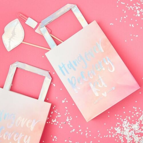 HEN PARTY BAGS HANGOVER RECOVERY Bride Tribe to Be Team Pink Iridescent 5 Pack