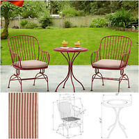 3-piece Outdoor Bistro Set Rocker Chairs Table Cushions Patio Furniture Dining