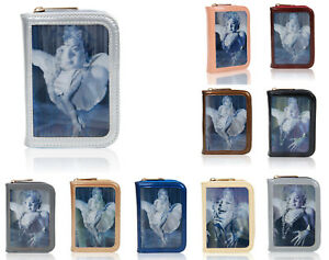 Vintage-Womens-Celeb-Marilyn-3D-Print-Mini-Patent-Wallet-Coin-Card-Holder-Purse