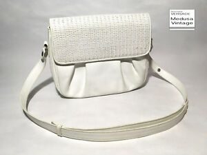 555f342cb38a GIANNI VERSACE VINTAGE  90 WHITE LEATHER BAG 2 WAY HANDBAG SHOULDER ...