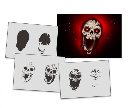 Step by Step Stencil AS-323 Skull ~ UMR Airbrush Stencil