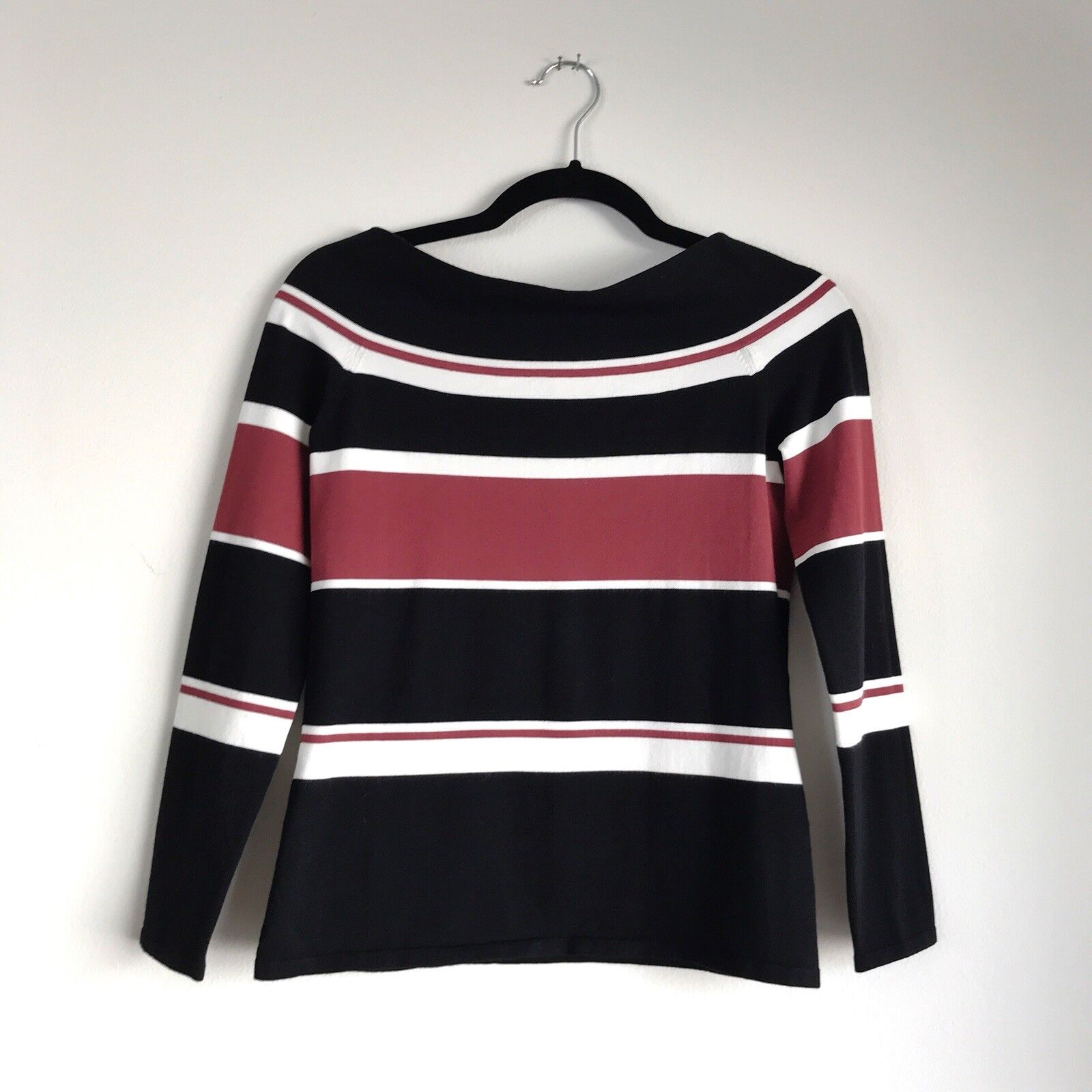 Veronica Beard Off The Shoulder Top Audrey rot schwarz & Weiß Striped Größe Medium