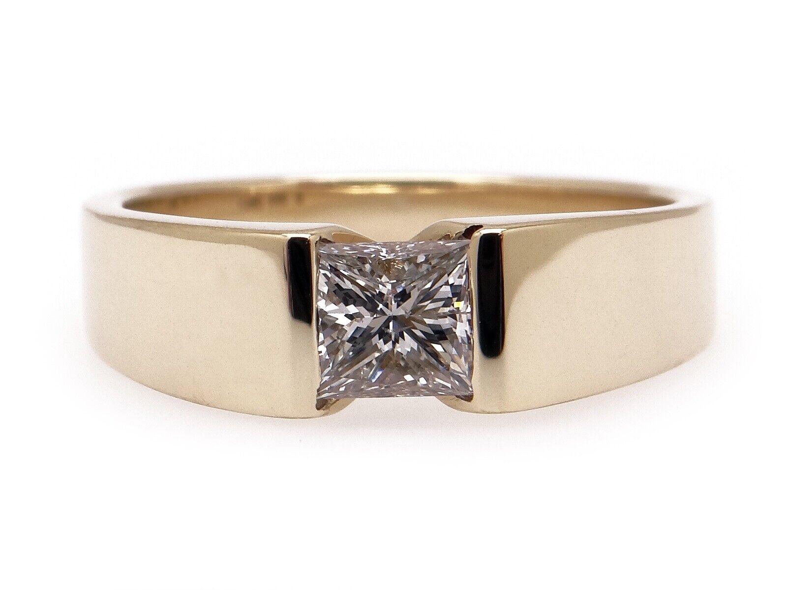 Unisex 14k Yellow Gold .54ct Princess Cut Diamond… - image 1
