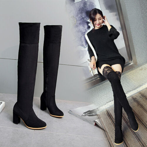 Women Suede 7.5cm Heel Over Knee High Thigh Riding Boots Party Casual Lace Shoes