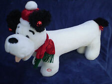 Big Animated Long Puppy Dog White Black Stuffed Plush Lighted Cheeks Flap Ears