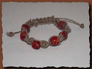 Bracelet,Macrame,lin,naturel,et,perles,bois,peintes,