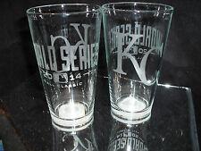 2014 WORLD SERIES ALCS KANSAS CITY ROYALS CONTENDER ETCHED 16 oz PINT GLASSES