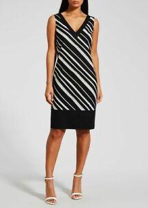 7c36e9a8cbc Summer Black White Stripe linen mix shift dress BNWT Matalan Papaya ...