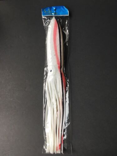 """5 New Rigged Big Game Squid Trolling Fishing Lures 15/"""" white//red"""