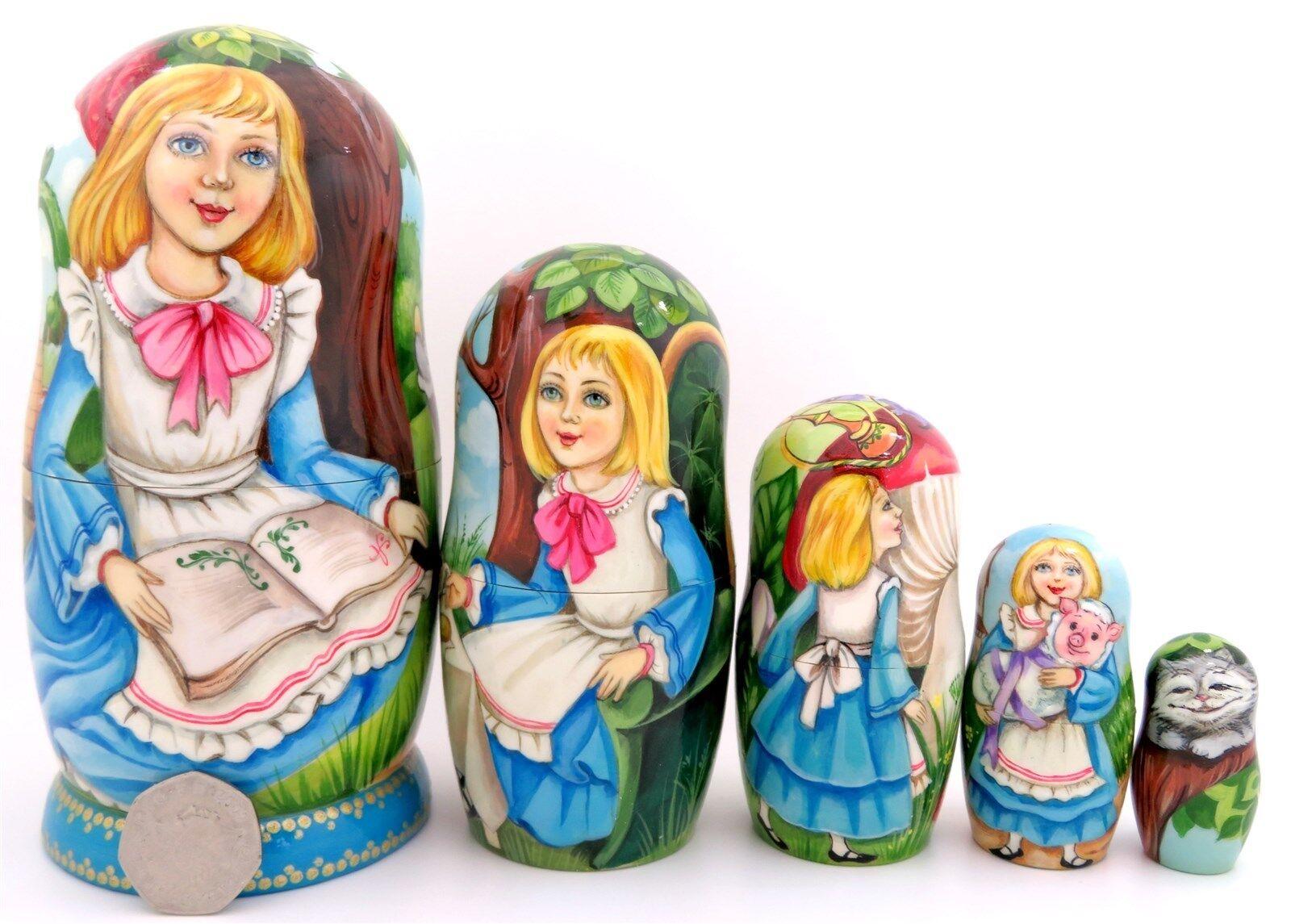 Bambole Russe a matrioska MATRIOSCA Alice nel paese delle meraviglie 5 Cappellaio Matto Bianconiglio