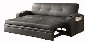 NEW Convertible Adjustable Sofa Bed Black Bi Cast Vinyl