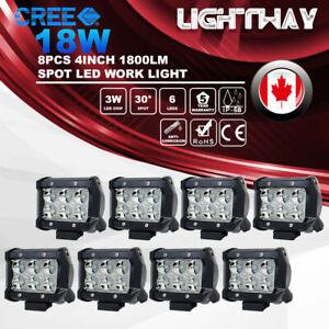 8X 4inch 18W CREE LED Work Light Bar Spot Beam Offroad 4WD SUV ATV Driving Lamp