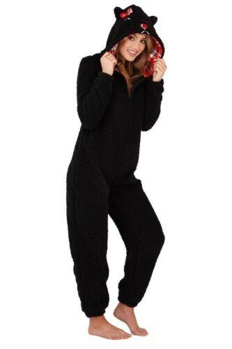 In 4 Sizes Ladies Novelty 3D Hood Black Scotty Dog Sherpa Fleece All In One