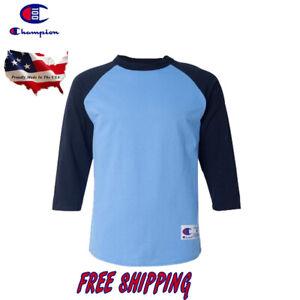 811ce0e61ec8 Champion Raglan 3/4 Sleeve Baseball Mens Plain Tee Jersey Team ...