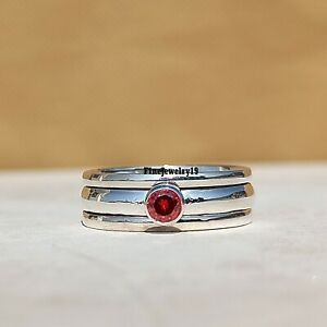 Garnet-Ring-925-Sterling-Silver-Spinner-Ring-Meditation-Statement-Jewelry-A289