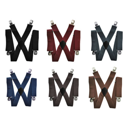 50mm Mens Braces with 4 Clips Extra Wide X-Shape Pants Strong Misc/_UK