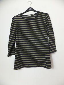New Women's Seasalt  Navy Blue Striped Bareroot 3/4 Sleeve Sweatshirt UK 10