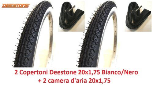 "2 Tires 2 Room Deestone 20x1,75 White//Black for Bike 20/"" type graziella"