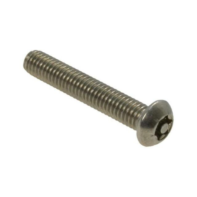 Qty 1 Button Post Torx M8 x 30mm Stainless T40 Security Screw Tamperproof 304