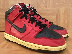 RARE-Nike-Dunk-High-Premium-SB-Varsity-Red-Black-Leather-Sz-8-5-2004-309432-601
