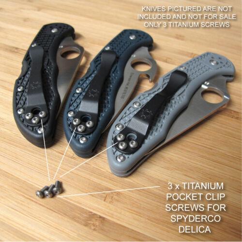 NO KNIFE Custom 3pc Titanium Pocket Clip Screws for Spyderco DELICA 4 FRN