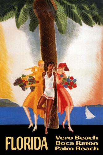 Florida Vero Boca Palm Beach Sailboat Travel Trip Vintage Poster Repro FREE S//H
