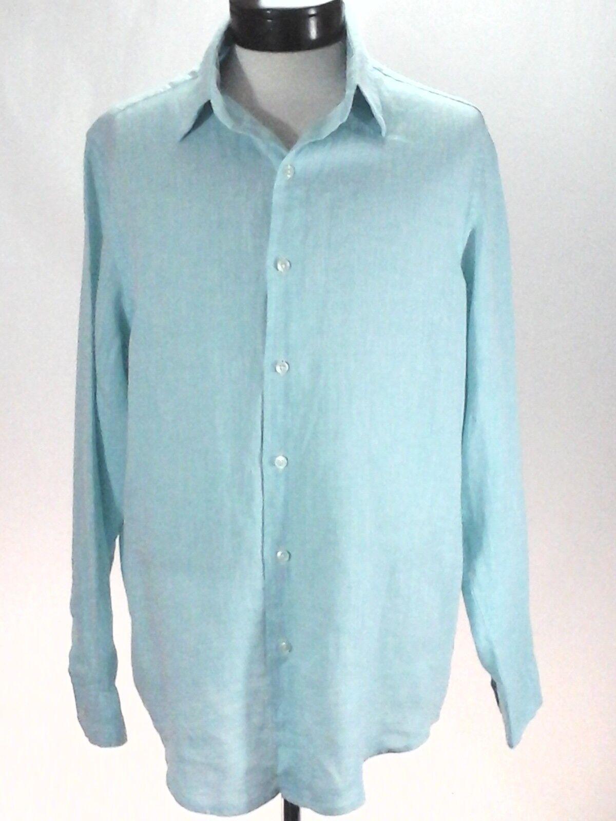 Linen Shirt TASSO ELBA Mint Green Combo Button Up Long Sleeve Men's L  New