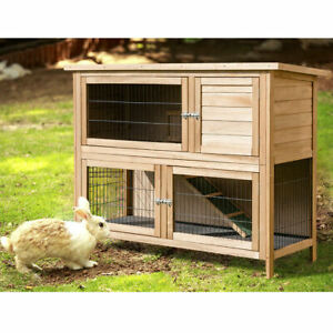"52""Rabbit Hutch Outdoor Garden Backyard Wood Hen House Chicken Coop Animal Cage"