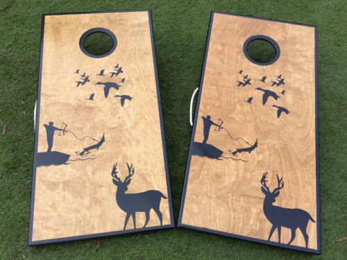 and Bowfishing Custom Cornhole Boards Details about  /Deer Duck