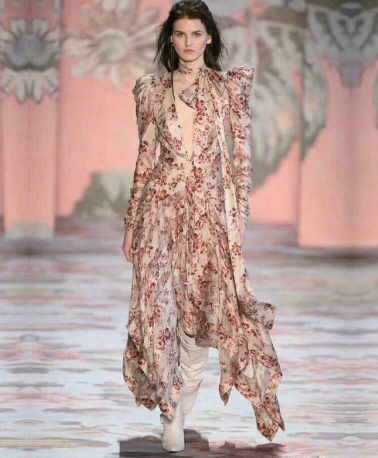 2019 Femme Inspiration Designer Luxe Fl Asymétrique Robe longue Occident
