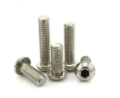 QTY-1-5-10-20 304 Stainless Hexagon Socket Button Head Bolt Screws M8 10mm-100mm