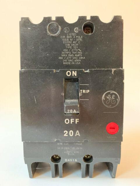 GE GENERAL ELECTRIC TEY320 NEW CIRCUIT BREAKER 3 POLE  20 AMP 277//480 VAC