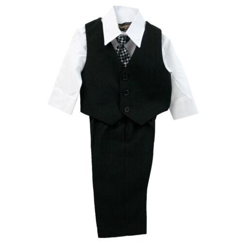 Infants 5 PCS Black Suit With Matching Tie Sizes 3M-24M