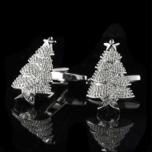 New Arrival  Men Christmas Trees Cufflinks Shirt Perfect Silver Plate Party Gift