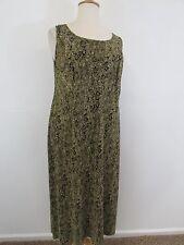 CONNECTED WOMAN Green/Black Print Sleeveless Shift Dress-Size 16