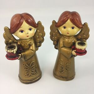 2 Vintage Christmas Paper Mache Angels Candle Holders Gold Gown Made in Japan